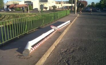 Nuevamente derribaron el delimitador de la Avenida Sarmiento