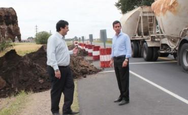 Ruta  51: González Hueso recorrió las obras del tramo Loma Negra L´amali