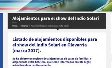 El municipio publicó el listado de alojamientos para el show del Indio