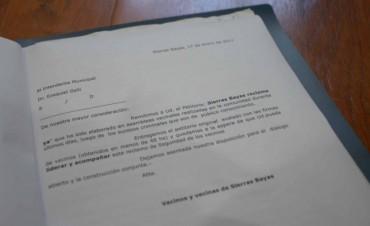 El petitorio de Sierras Bayas fue entregado al municipio