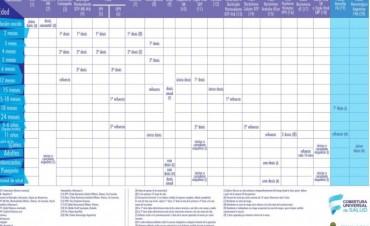 Se dispuso el nuevo calendario de vacunación
