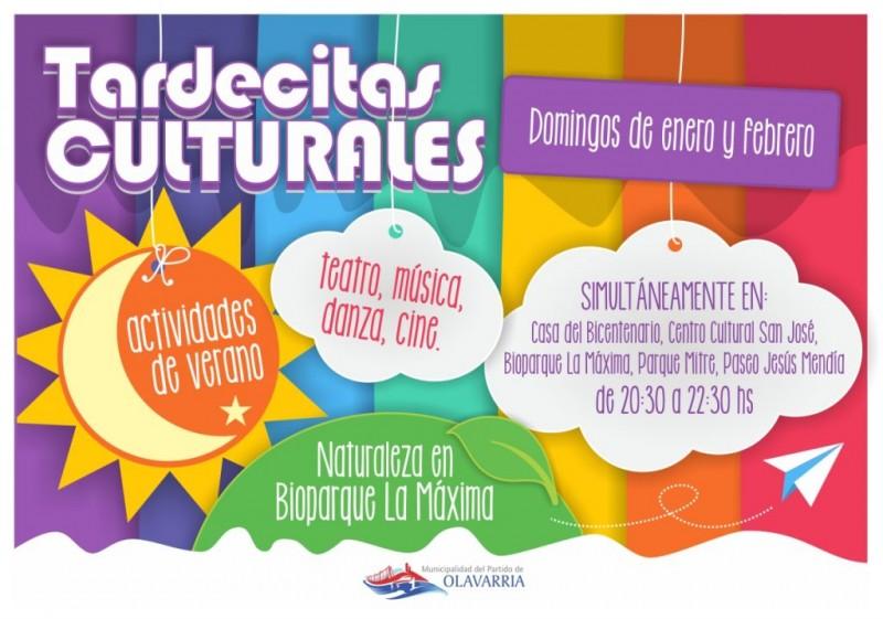 Programa de las Tardecitas Culturales de este domingo