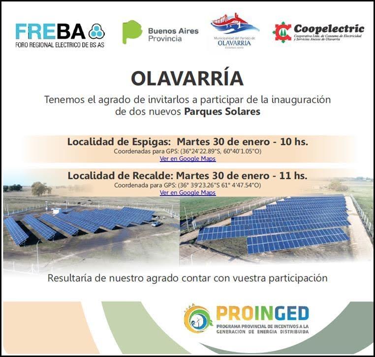 Inauguran parques solares en Recálde y Espigas