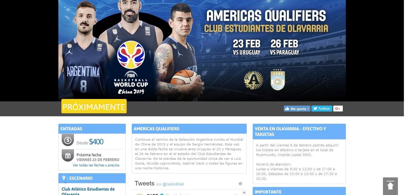 Básquet: Ticketek informó que las entradas para ver a la Selección se venderán en Musimundo Olavarría