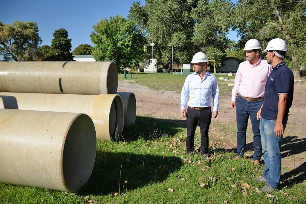 Galli recorrió la obra de ampliación de la planta depuradora