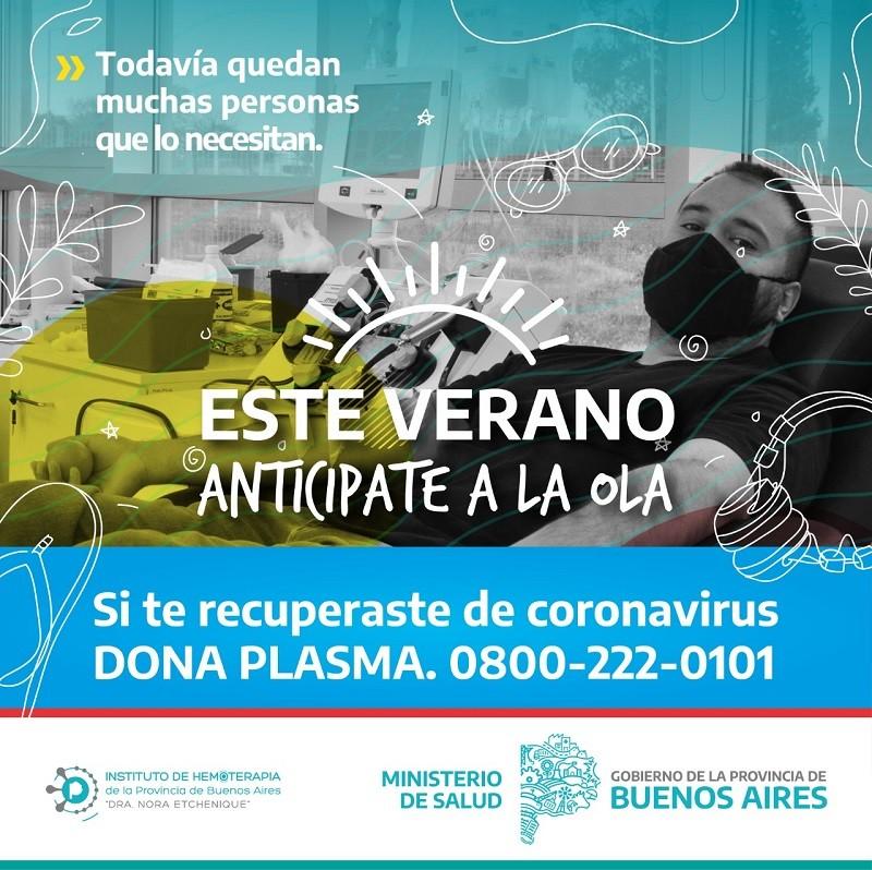 La provincia convoca a las personas recuperadas de Covid a donar plasma
