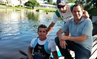 El Senador Vitale en el entrenamiento del atleta olímpico Díaz Aspiroz