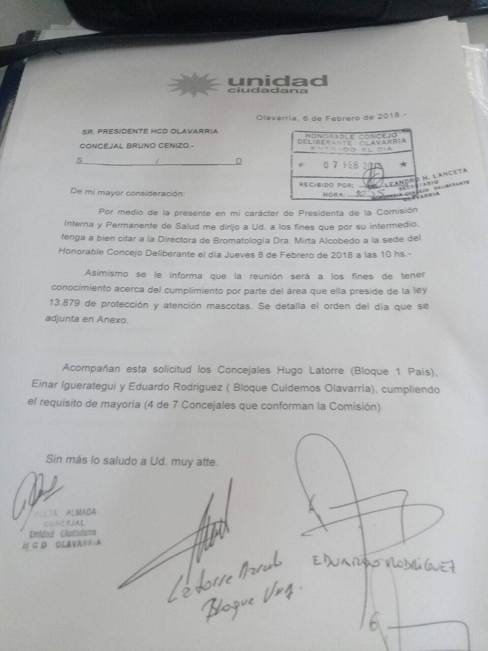 Oficializan la citación a Alcobedo