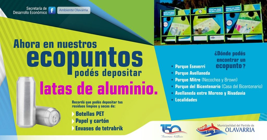 EcoPuntos: se pueden depositar latas de aluminio