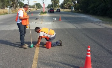Trabajos de demarcación vial en distintos puntos de la ciudad
