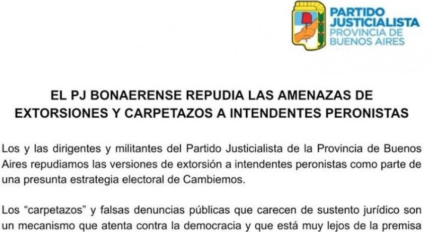 """El PJ Bonaerense repudió los """"carpetazos"""" a intendentes Peronistas"""