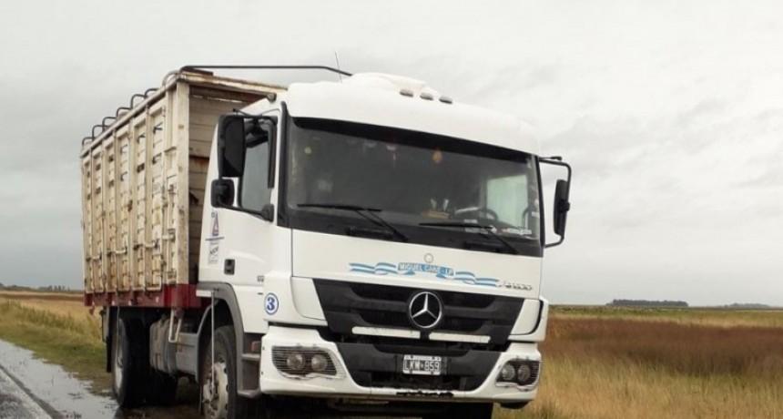 Volcó un camión  en la ruta 205: el conductor no sufrió lesiones