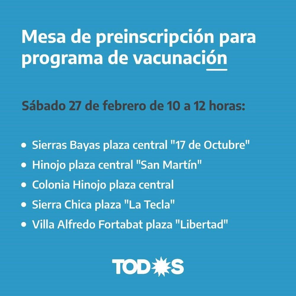 La Mesa de preinscripción para el programa de vacunación estará en las localidades