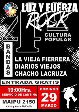 Luz y Fuerza Rock, este domingo a las 19