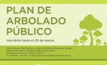 Este viernes finaliza la inscripción al Plan de Arbolado Público