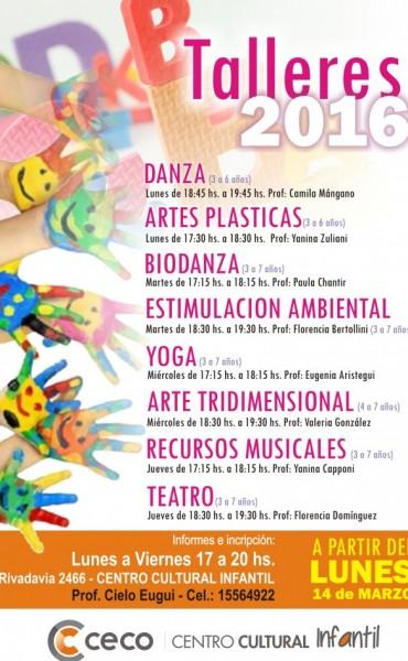 Está abierta la inscripción para los talleres del Centro Cultural Infantil del CECO