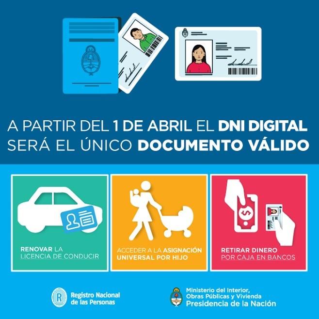 A partir del 1° de abril el DNI digital será el único válido