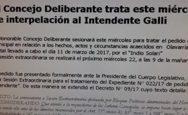 El Concejo Deliberante trata el pedido de interpelación al Intendente Galli