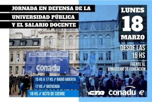 Jornada en defensa de la universidad pública y el salario docente