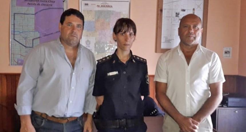 Autoridades municipales de Seguridad en el destacamento de Sierra Chica