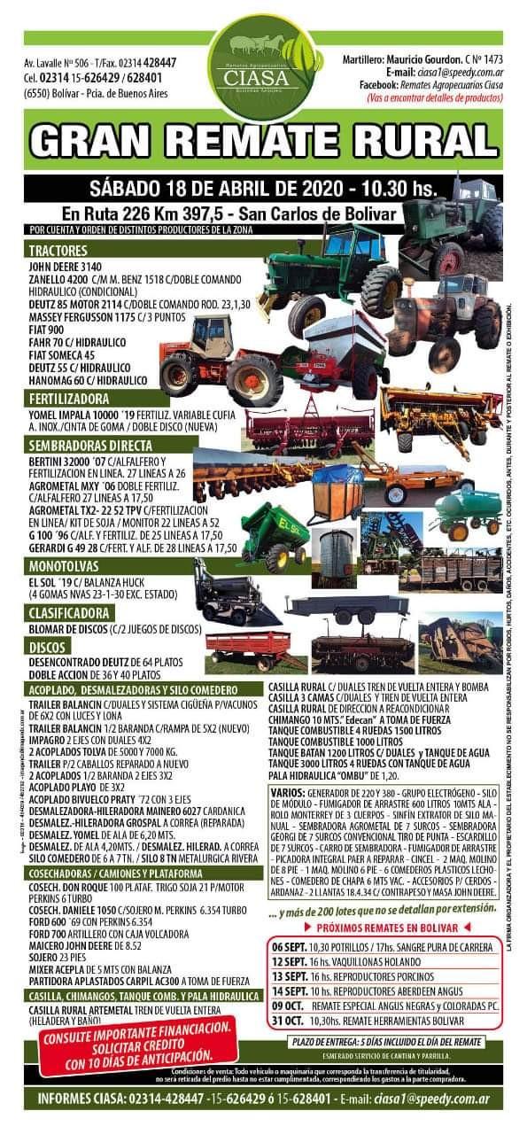 El gran remate rural llega el sábado 18 de abril a  San Carlos  de Bolivar