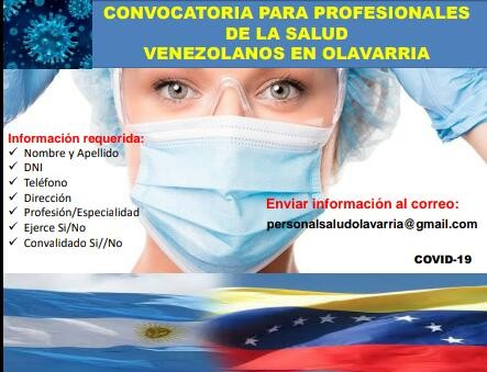 La Sociedad Venezolana convoca a profesionales de la salud residentes en Olavarría