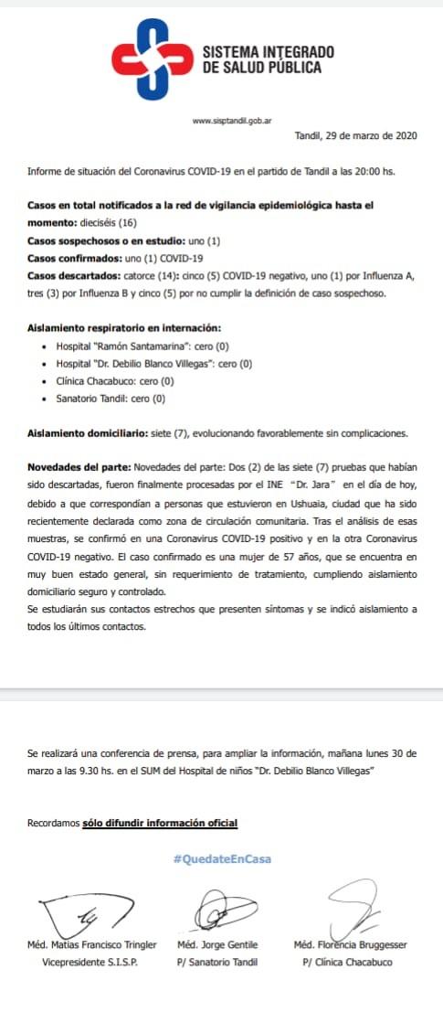 Confirman primer caso de coronavirus en Tandil