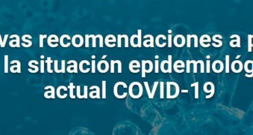 Salud de Nación actualizó recomendaciones sanitarias