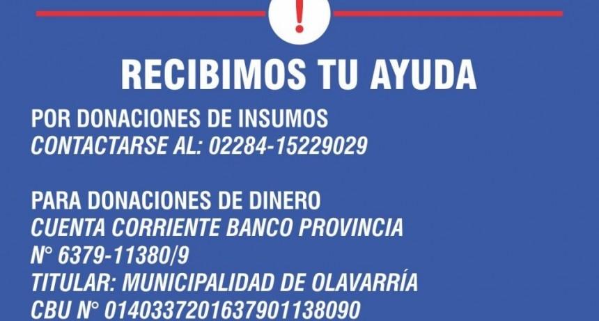 La Municipalidad de Olavarría habilita la recepción de donaciones