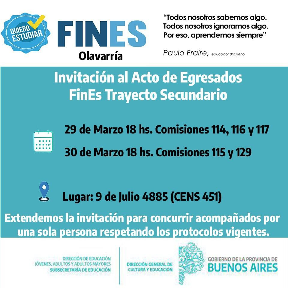 Plan FINES: Actos de egreso