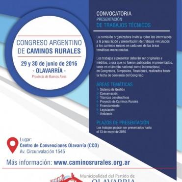 Convocatoria a participar del Primer Congreso Nacional de Caminos Rurales