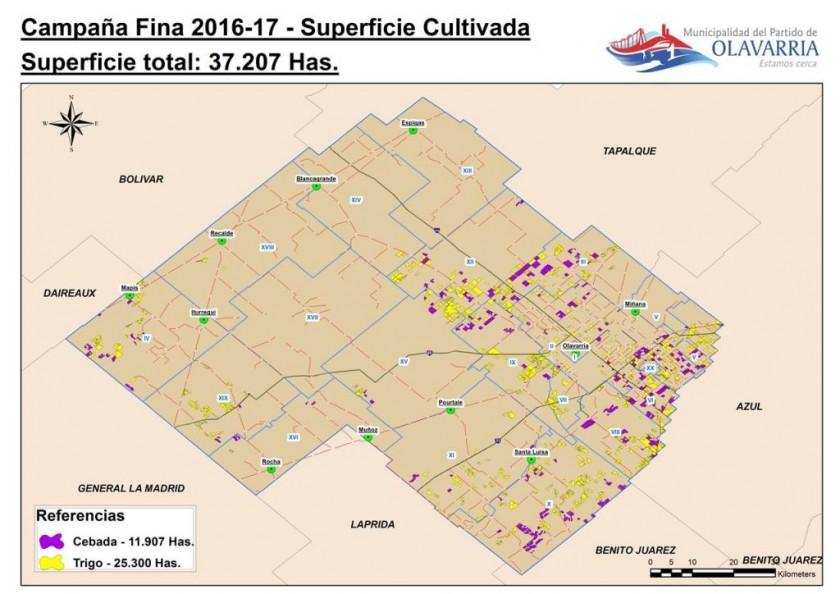 Desarrollo agropecuario: cálculo de área cultivada en la campaña 2016/2017