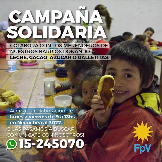 El FPV organiza una campaña solidaria para colaborar con los merenderos