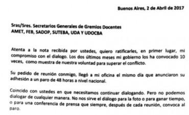 La gobernadora Vidal realizó una carta para los docentes