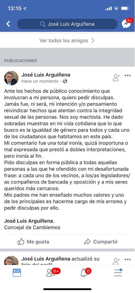 El concejal Arguiñena pidió disculpas públicas por su publicación en Facebook