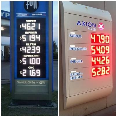 YPF y Axion aumentaron el precio de sus combustibles