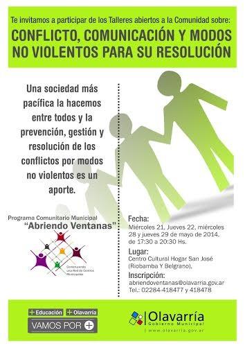 """Comienzan los talleres sobre """"Conflicto, Comunicación y Modos no violentos para resolución"""""""