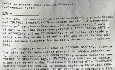 Vecinos del Barrio Independencia le piden policía al intendente