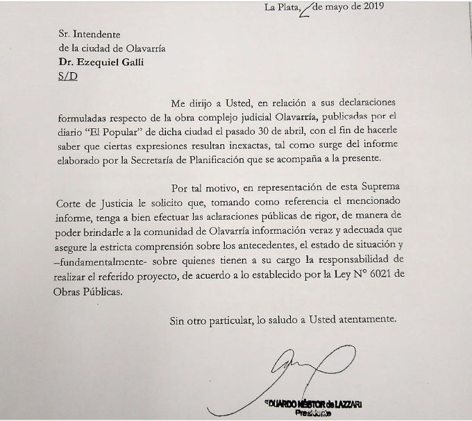 La Suprema Corte desmiente al intendente Galli