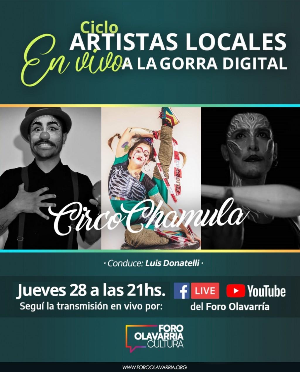 """Circo Chamula en el ciclo """"Vivo de Artistas locales a la Gorra Digital"""" este jueves"""