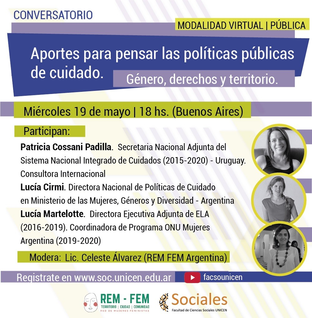 Conversatorio virtual ´Aportes para pensar las políticas públicas de cuidado. Género, derechos y territorio´