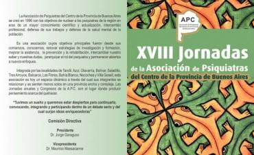 El viernes comienzan las XVIII Jornadas de Psiquiatría en Olavarría