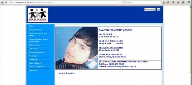Uno de los chicos buscados está en Missing Children