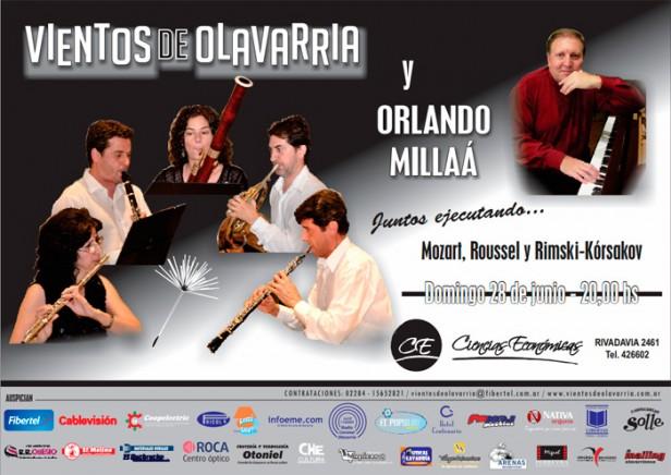 'Vientos de Olavarría' se presentará junto al pianista Orlando Millaá