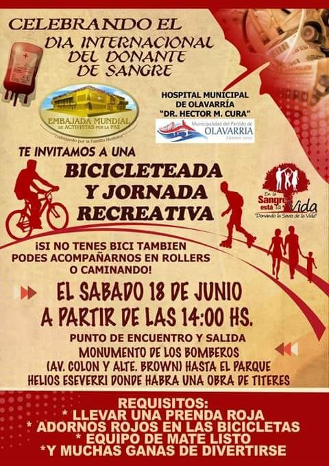 Día Mundial del Donante de Sangre: bicicleteada y jornada recreativa