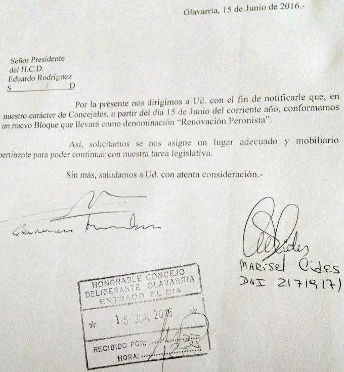 Concejo Deliberante: Aramburu y Cides conformaron un nuevo bloque