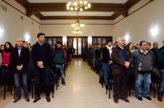 El intendente Galli en la presentación de los nuevos concejales estudiantiles