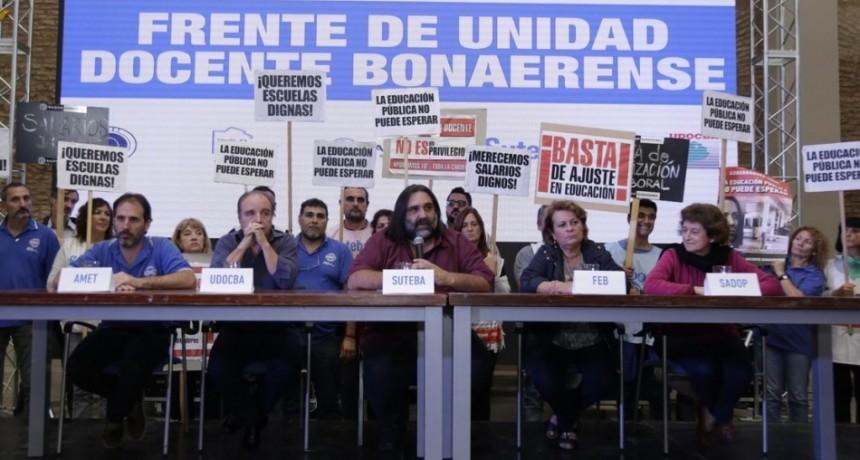 El Frente de Unidad Docente bonaerense define acciones