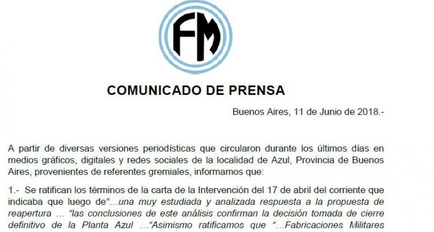 Fabricaciones Militares envió un comunicado de prensa sobre Fanazul