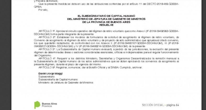 La Provincia oficializó el régimen de Retiros Voluntarios
